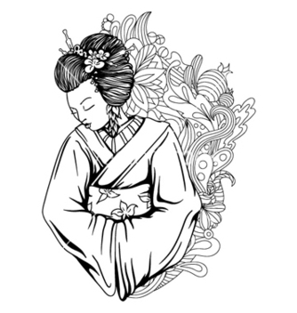 Free geisha with floral vector - Free vector #262315