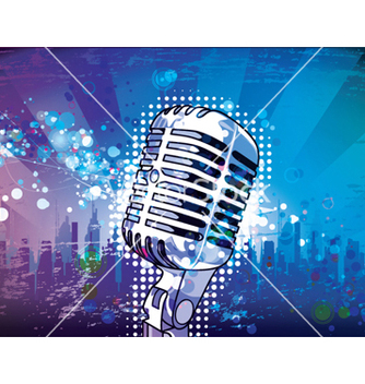 Free microphone with urban background vector - Kostenloses vector #262655