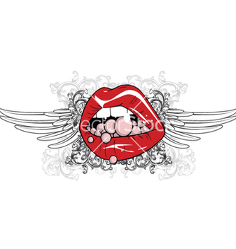 Free mouth with floral and wings vector - Free vector #263765