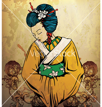 Free geisha on grunge background vector - Free vector #263825