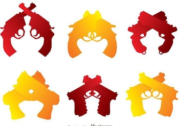Crossed Hand Guns Icons - vector #264585 gratis