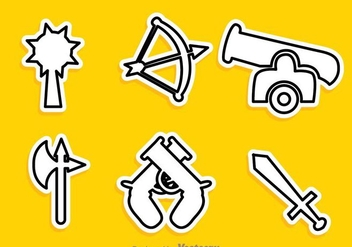 Various Vector Weapon Outline Icons - Free vector #264595