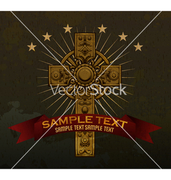 Free gothic cross with ribbon vector - vector #265215 gratis