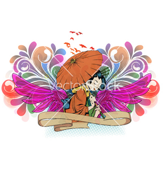 Free geisha with wings vector - Kostenloses vector #265395