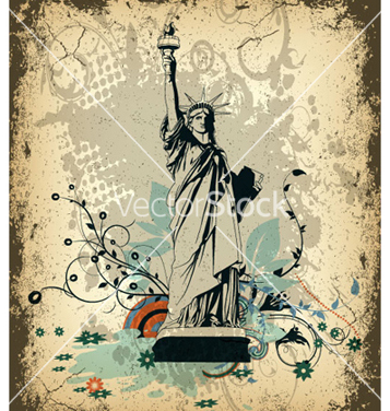 Free grunge background with statue of liberty vector - Free vector #265605