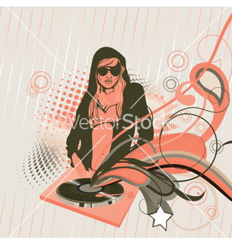 Free concert poster with dj girl vector - Free vector #265615