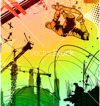Free urban background with skater vector - бесплатный vector #266045