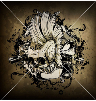Free skull with grunge vector - Free vector #266185