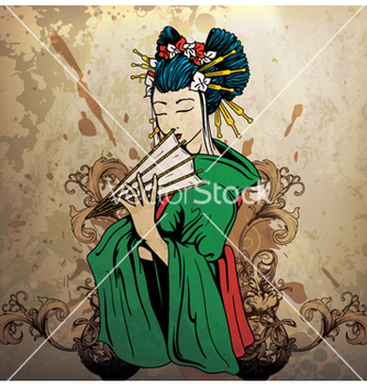 Free geisha on grunge background vector - Kostenloses vector #266415