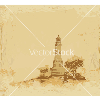 Free lighthouse seen from a tiny beach grunge poster vector - Free vector #266685