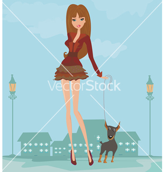 Free girl and her puppy vector - Free vector #266705