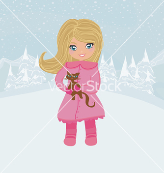 Free winter girl and her cat vector - Kostenloses vector #266725