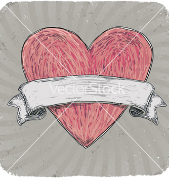 Free vintage heart ribbon vector - Free vector #267005