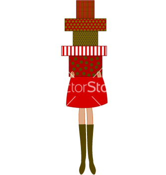 Free woman holding christmas presents vector - vector gratuit #267265