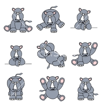 Free cartoon rhinoceros vector - vector gratuit #267445