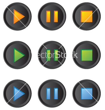 Free music player buttons set vector - vector #267865 gratis