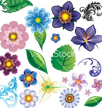 Free flower elements vector - бесплатный vector #269705