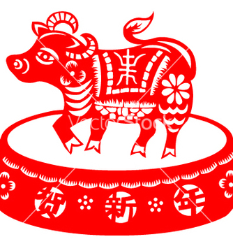 Free chinese new year cow vector - vector gratuit #270025