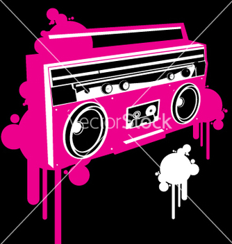 Free ghetto blaster pop graf version vector - Free vector #270595