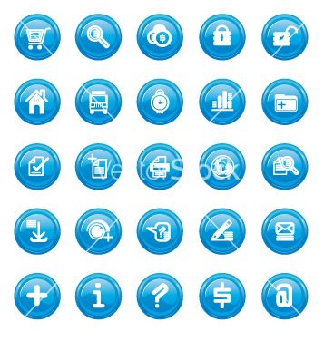 Free web icons blue gloss vector - Free vector #270655