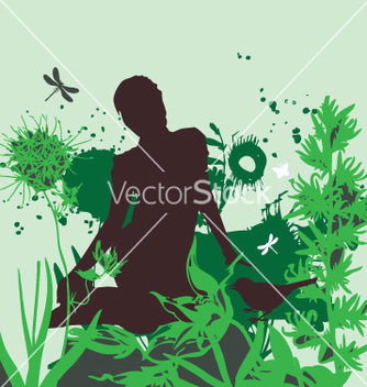 Free girl in the garden vector - Kostenloses vector #270735