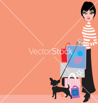 Free shopping girl with chiwawa vector - vector gratuit #270845