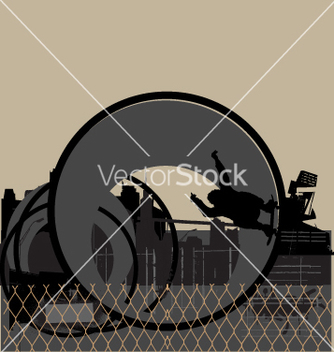 Free skater in urban pipe vector - бесплатный vector #271075