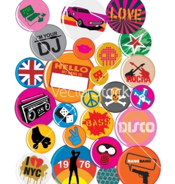 Free badges 80s style pop retro vector - Free vector #271565