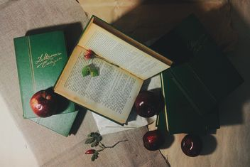 Books, rosehip and apples on the table, #apples - image gratuit #272165