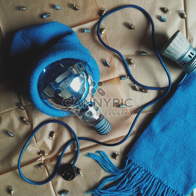 Light bulb in blue hat, scarf and tiny bulbs - Free image #272235