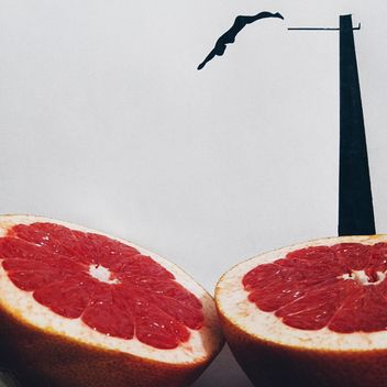 Silhouette of a woman jumping in grapefruit - бесплатный image #272245