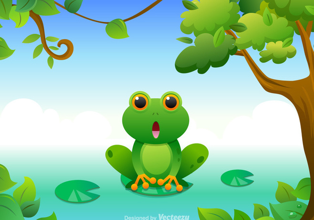 Free Cartoon Green Tree Frog Vector - vector gratuit #272385
