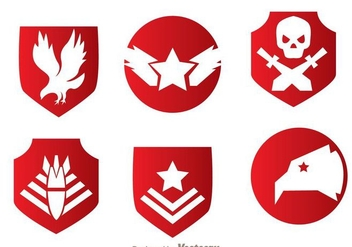 Military Red Emblem Vectors - vector gratuit #272415