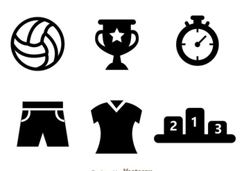 Volleyball Black Icon Vectors - бесплатный vector #272445