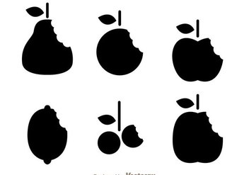Silhouette Fruits Bite Mark Vectors - Kostenloses vector #272465