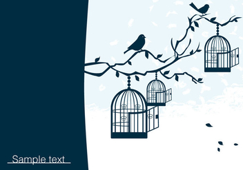 Birds on Branch with Birdcage Vector - vector gratuit #272655