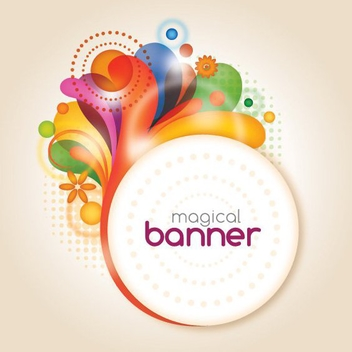 Splashed Swirls Circle Banner - Free vector #272905