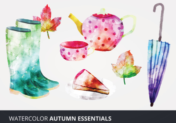 Watercolor Autumn Essentials Vectors - Free vector #273245