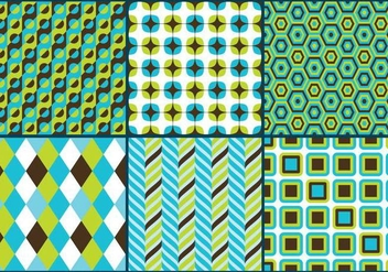 Retro Green & Blue Patterns - Free vector #273265