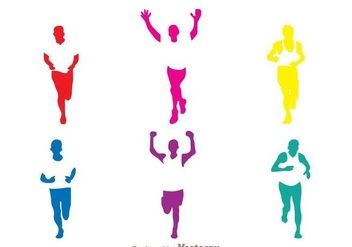 Colorful Running Silhouette - vector gratuit #273375