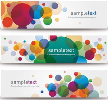 Colorful Bubbly Bokeh Banner Set - vector gratuit #273455