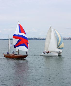 Yachts sailing at waves of sea - Free image #273505