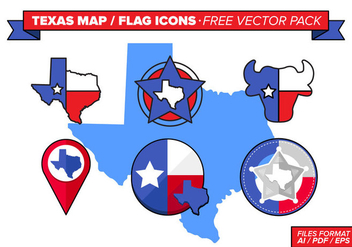 Texas Map And Flag Icons Free Vector Pack - vector gratuit #273955