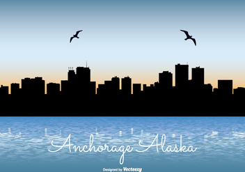 Anchorage Alaska Skyline Illustration - vector gratuit #273965