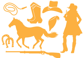 Cowgirl Silhouette Vectors - Free vector #274085