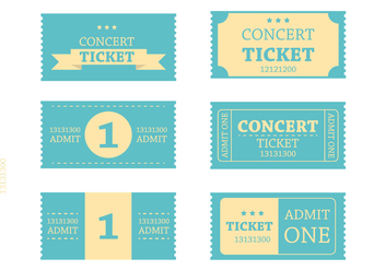 Retro Blue Ticket Vectors - Free vector #274135