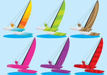 Colorful Catamaran Vectors - Free vector #274165