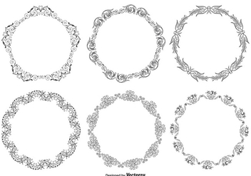 Decorative Round Frame Set - бесплатный vector #274185