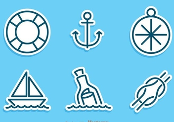 Nautical Sticker Vector Set - Free vector #274255