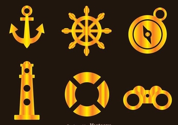 Nautical Gold Icons - vector gratuit #274265